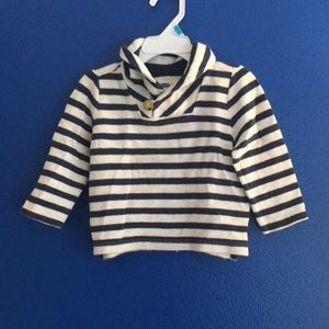 Old navy stripe pullover nautical blue white 18-24